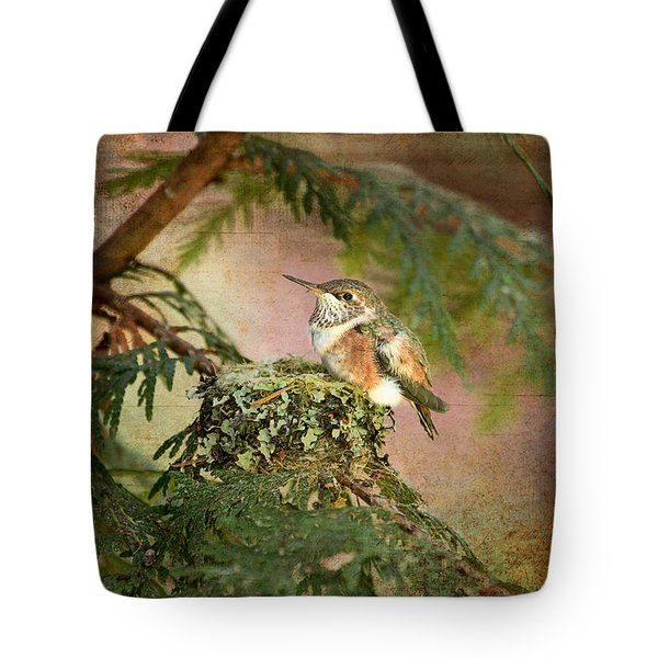 Tote Bag featuring the photograph Baby Hummingbird In The Forest by Peggy Collins