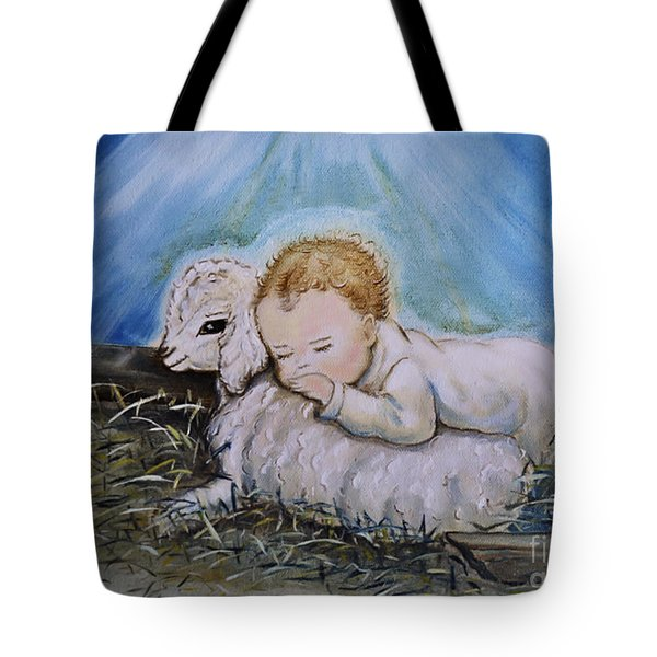 Baby Jesus Little Lamb Tote Bag