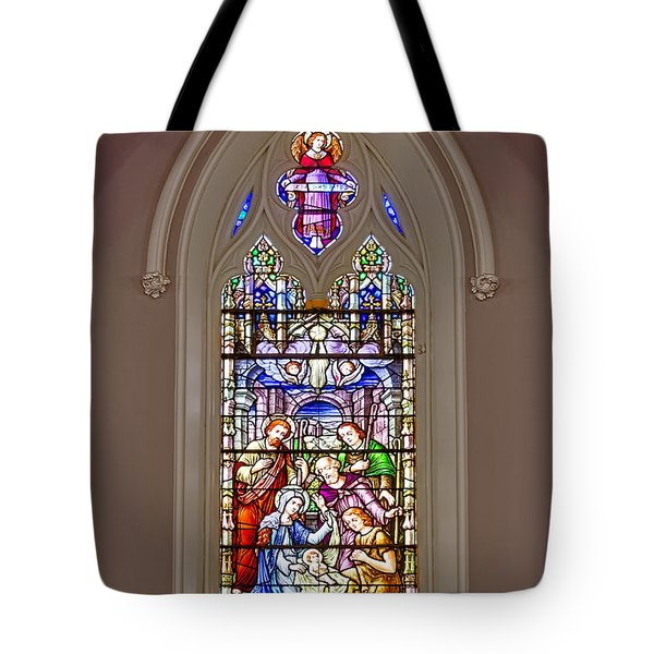 Baby Jesus Stained Glass Window Tote Bag by Susan Candelario