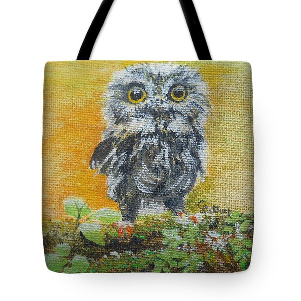 Baby Owl Tote Bag by Christine Lathrop