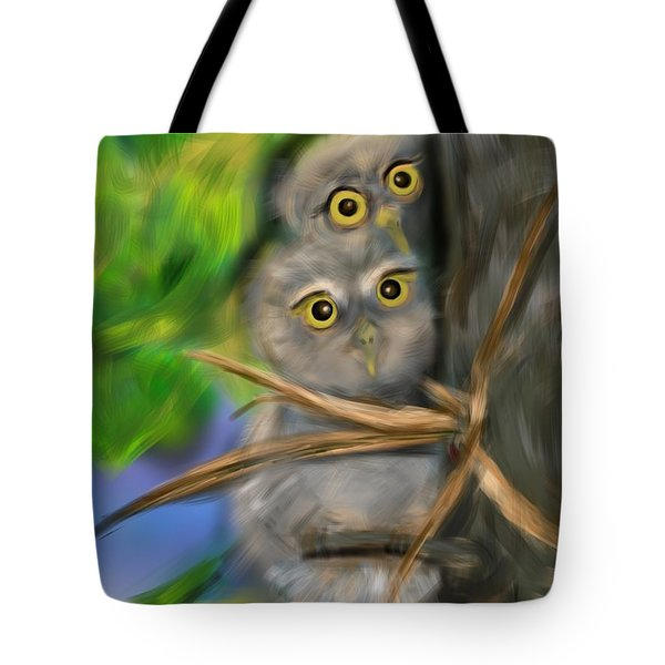 Tote Bag featuring the digital art Baby Owls by Christine Fournier