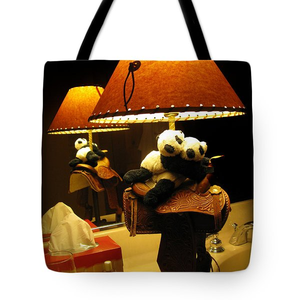 Baby Pandas In A Saddle  Tote Bag