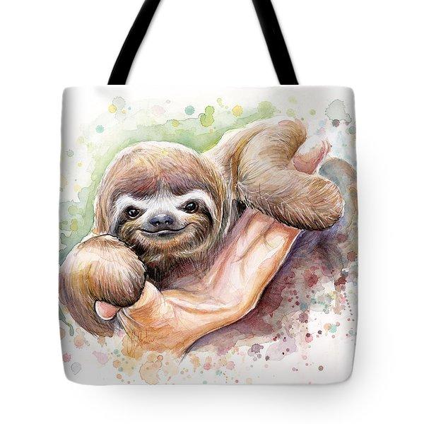 Baby Sloth Watercolor Tote Bag