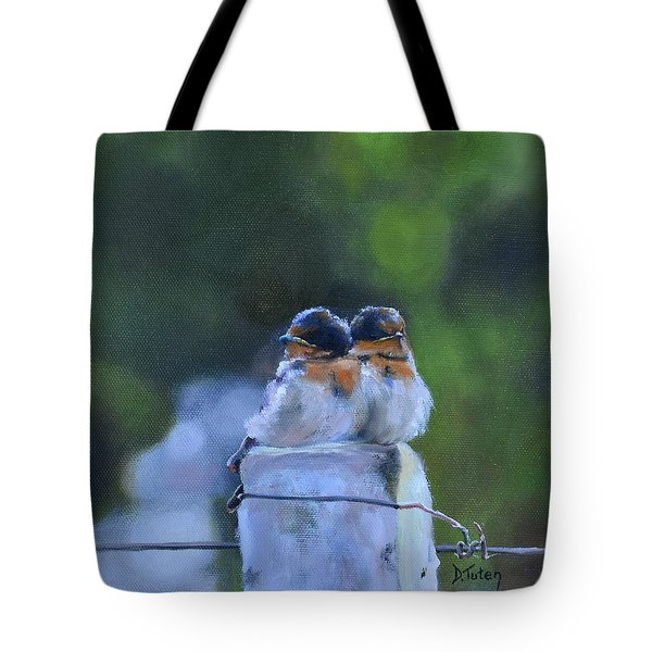 Baby Swallows On Post Tote Bag
