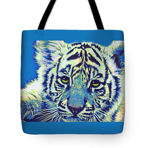 Baby Tiger- Blue Tote Bag by Jane Schnetlage