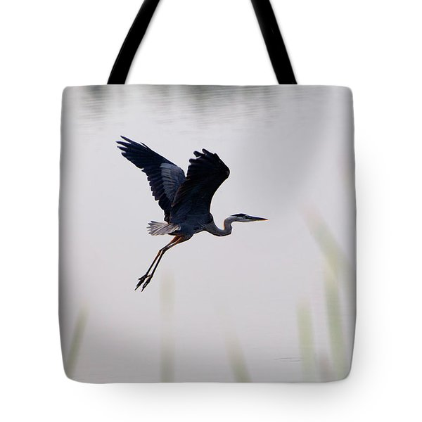 Back Lit Great Blue Heron Ardea Tote Bag