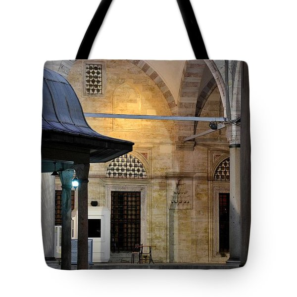 Tote Bag featuring the photograph Back Lit Interior Of Mosque  by Imran Ahmed