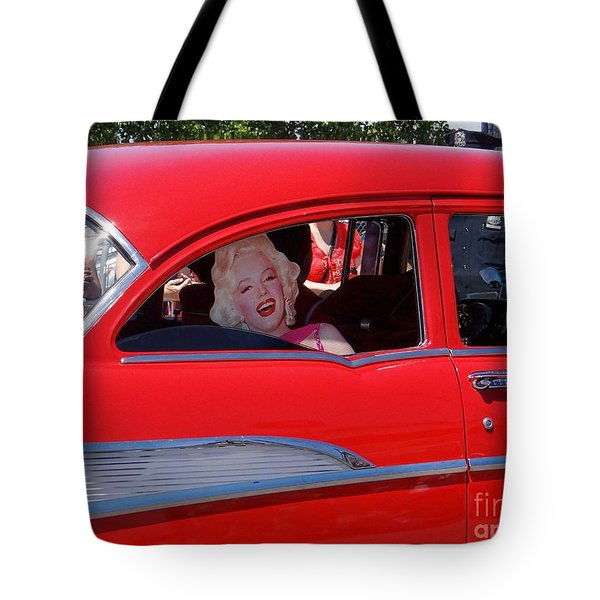 Tote Bag featuring the photograph Back Seat Marilyn by Ed Weidman