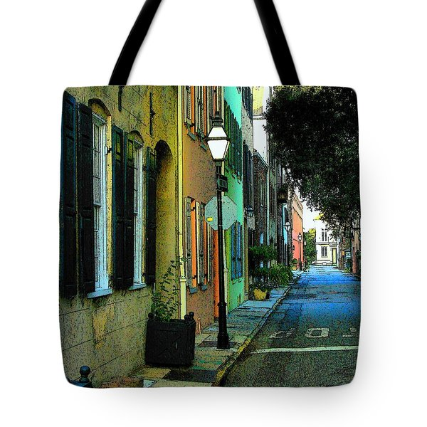 Tote Bag featuring the photograph Back Street In Charleston by Rodney Lee Williams