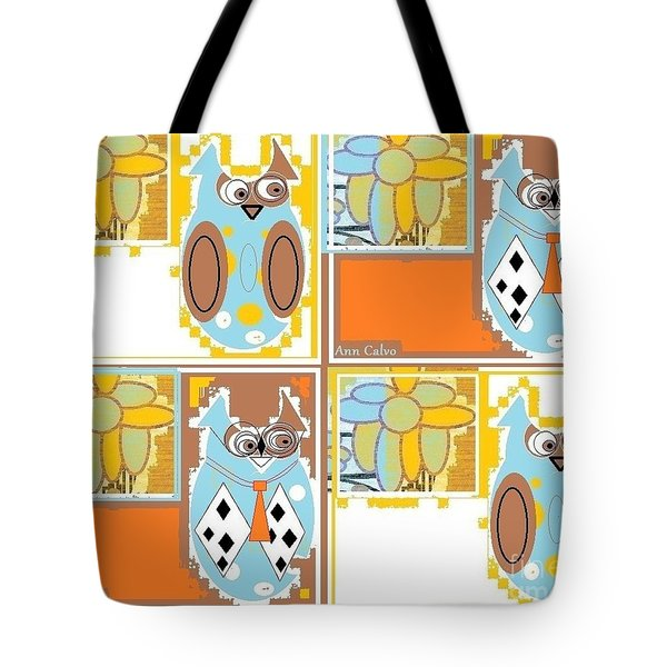 Tote Bag featuring the digital art Back To School Owl by Ann Calvo