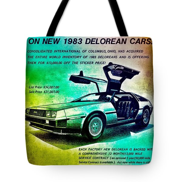 Tote Bag featuring the digital art Back To The Delorean by Helge