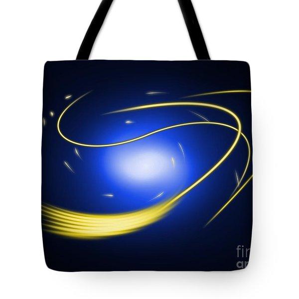 Background Blue Glow Lines Tote Bag by Henrik Lehnerer