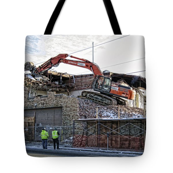 Backhoe Demolition Tote Bag by Daniel Hagerman