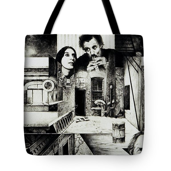 Tote Bag featuring the drawing Backlane Serenade by Otto Rapp