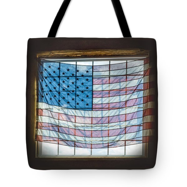 Backlit American Flag Tote Bag