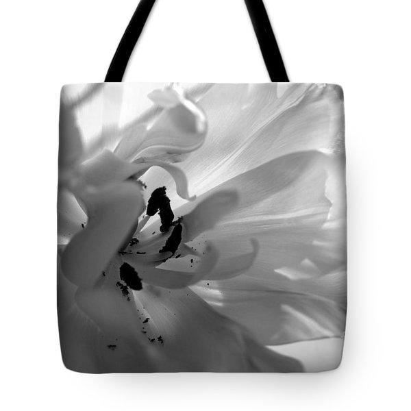 Backlit Black And White Tulip Tote Bag