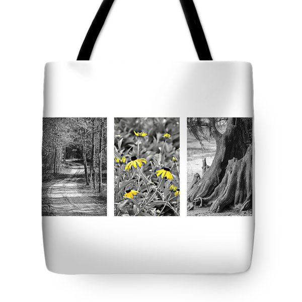 Backwoods Escape Triptych Tote Bag by Carolyn Marshall