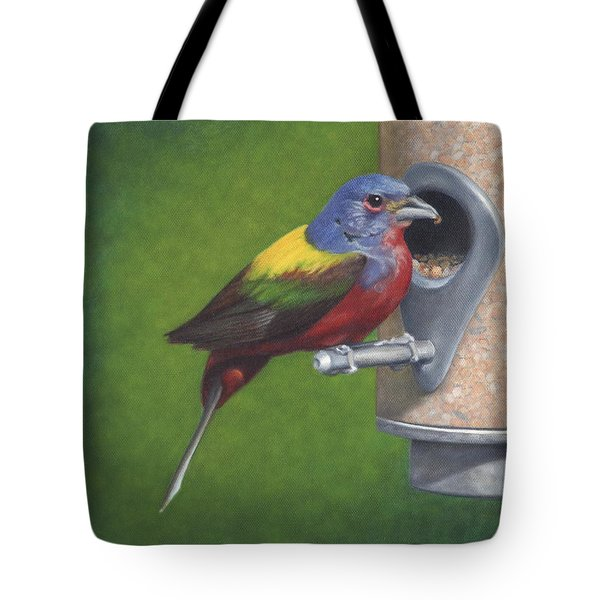 Tote Bag featuring the painting Backyard Bunting by Dee Dee  Whittle