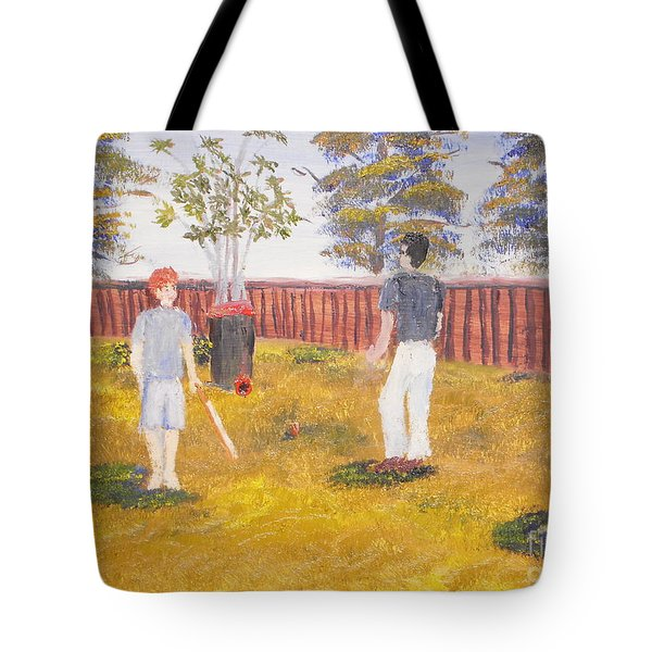 Tote Bag featuring the painting Backyard Cricket Under The Hot Australian Sun by Pamela  Meredith