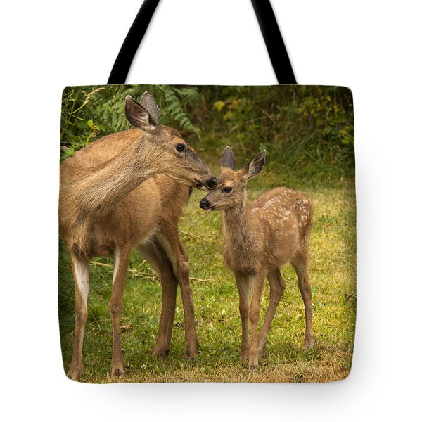 Tote Bag featuring the photograph Motherly Love by Inge Riis McDonald