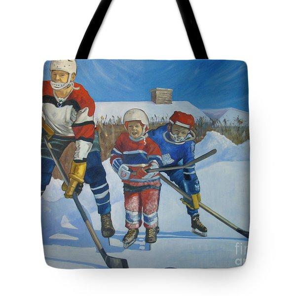 Backyard Ice Hockey Tote Bag by Christina Clare