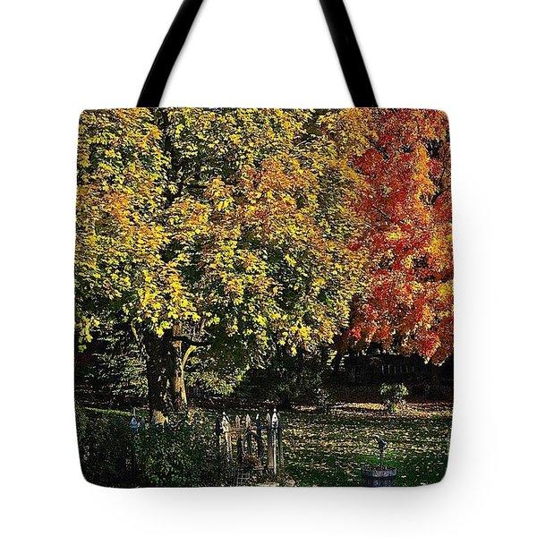 Backyard Morning In The Fall Tote Bag