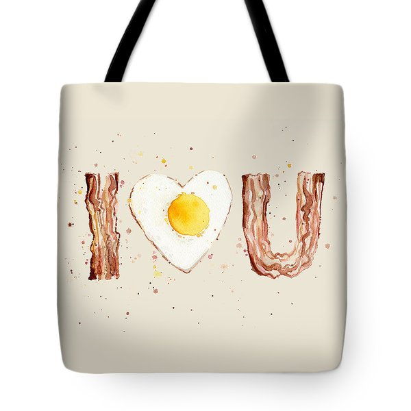 Bacon And Egg I Heart You Watercolor Tote Bag by Olga Shvartsur