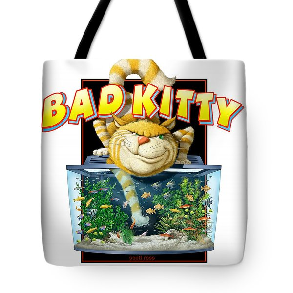 Bad Kitty Tote Bag by Scott Ross
