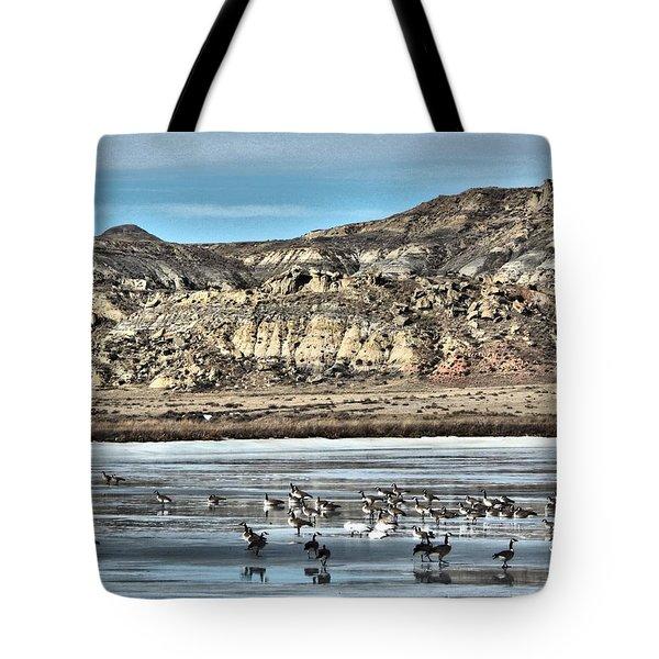 Tote Bag featuring the digital art Badlands Spring Thaw by Aliceann Carlton