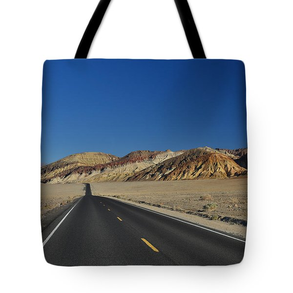 Tote Bag featuring the photograph Badwater Road - Death Valley by Dana Sohr
