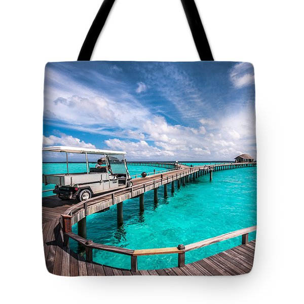 Baggy On The Jetty Over The Blue Lagoon Tote Bag