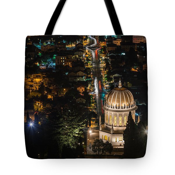 Baha'i Temple At Night Tote Bag
