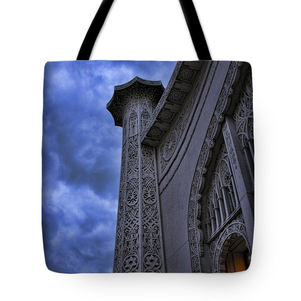Tote Bag featuring the photograph Bahai Temple Detail At Dusk II by John Hansen