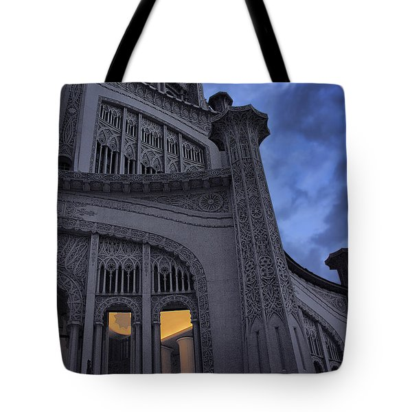 Tote Bag featuring the photograph Bahai Temple Detail At Dusk by John Hansen