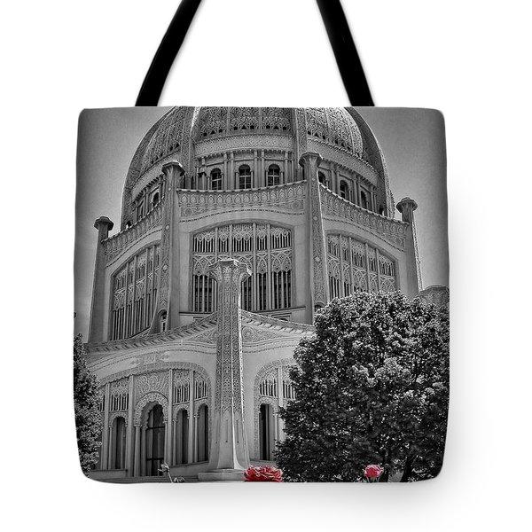 Bahai Temple Wilmette In Black And White Tote Bag