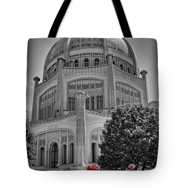 Bahai Temple Wilmette In Black And White Tote Bag