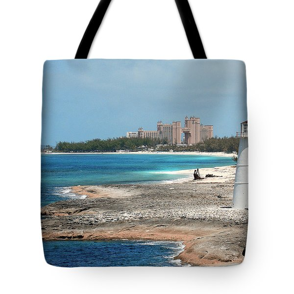 Bahamas Lighthouse Tote Bag by Julie Palencia