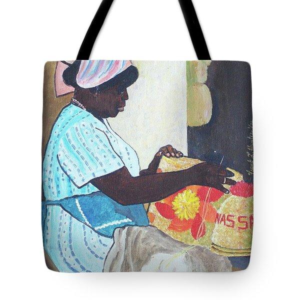 Bahamian Woman Weaving Tote Bag