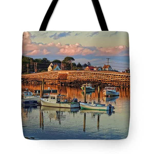 Bailey Island Bridge At Sunset Tote Bag