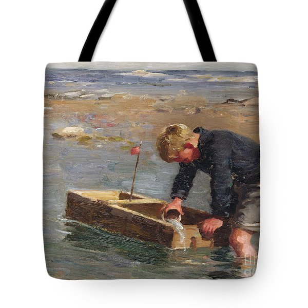 Bailing Out The Boat Tote Bag by William Marshall Brown