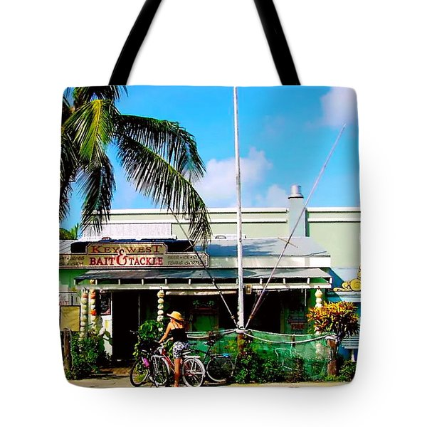Bait And Tackle Key West Tote Bag by Iconic Images Art Gallery David Pucciarelli