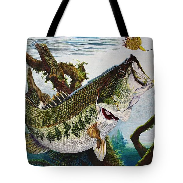 Baiting The Big One Tote Bag by Bruce Bley