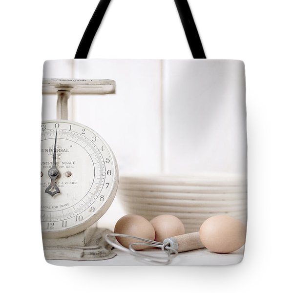 Baking Time Vintage Kitchen Scale Tote Bag by Edward Fielding