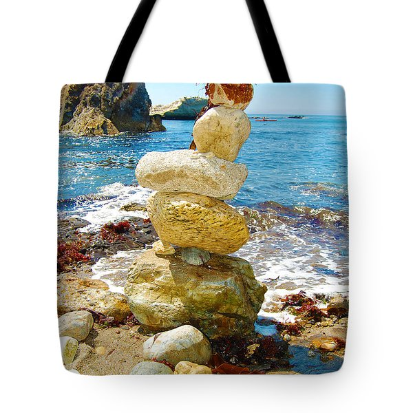 Balanced Beach Rock Stack Tote Bag by Debra Thompson