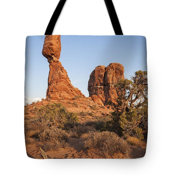Tote Bag featuring the photograph Balanced Rock At Arches National Park by Bryan Mullennix