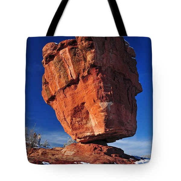 Balanced Rock At Garden Of The Gods With Snow Tote Bag by John Hoffman