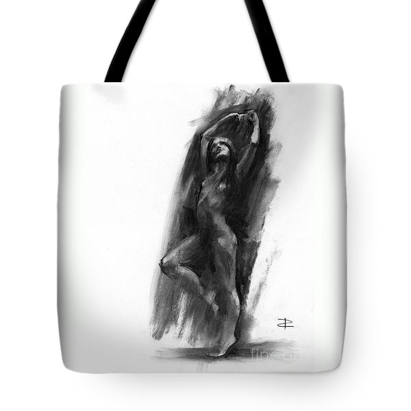 Tote Bag featuring the drawing A Dance Of Balance by Paul Davenport