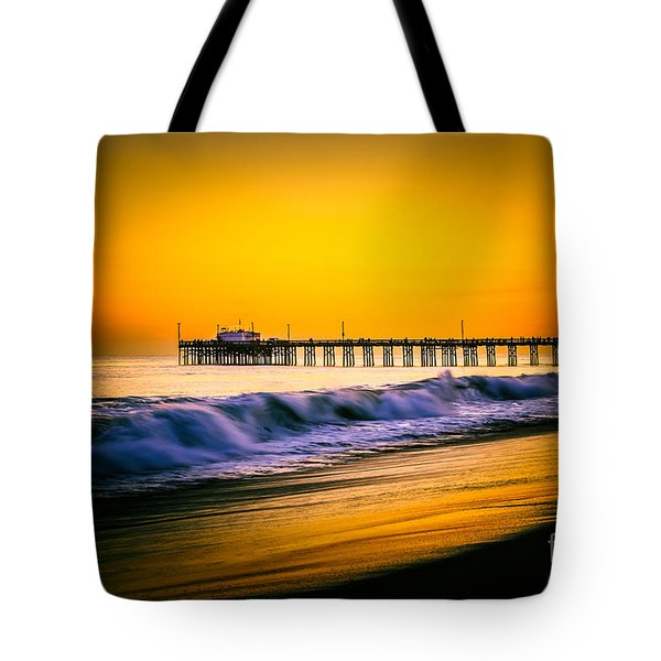 Balboa Pier Picture At Sunset In Orange County California Tote Bag by Paul Velgos