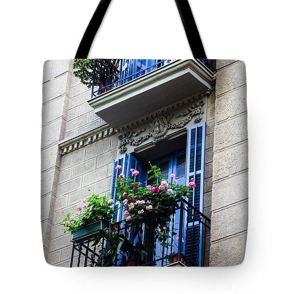 Balconies In Bloom Tote Bag by Menachem Ganon