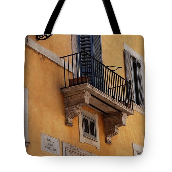Tote Bag featuring the photograph Balcony Piazza Della Madallena In Roma by Dany Lison